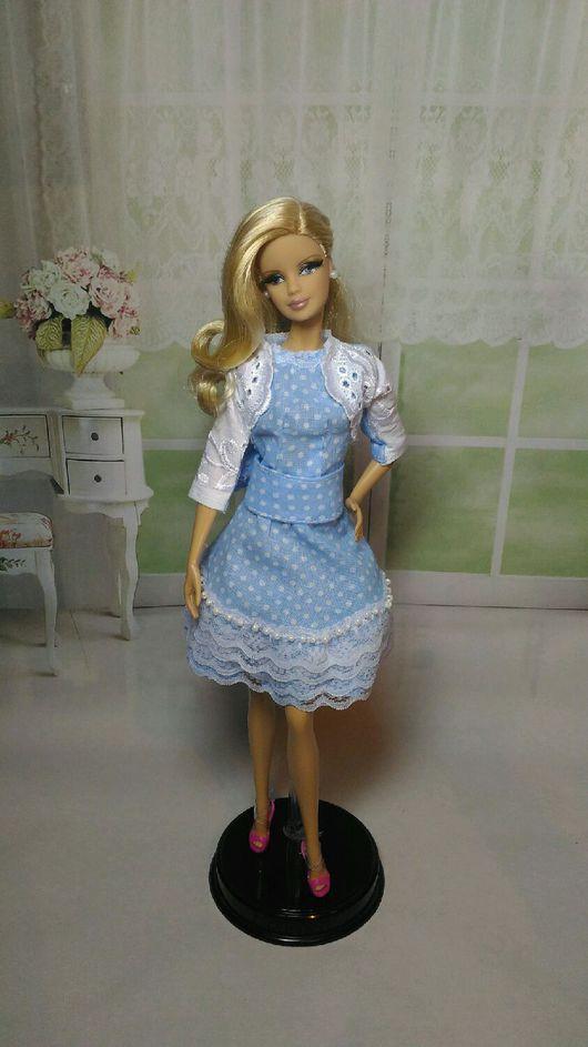 """Одежда для кукол ручной работы. Ярмарка Мастеров - ручная работа. Купить Комплект """"Белое на голубом""""для Барби. Handmade. Для Барби"""