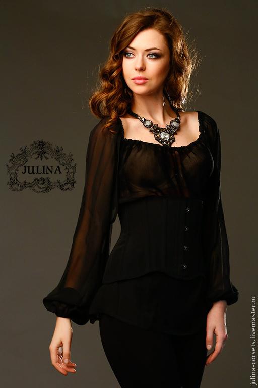 """Блузки ручной работы. Ярмарка Мастеров - ручная работа. Купить Черная Блузка шелковая """"Эмилия"""", полупрозрачная. Handmade. Черный"""