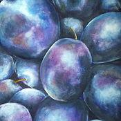 Картины и панно handmade. Livemaster - original item Oil painting of Plums, still life with Fruit on canvas Space plums. Handmade.
