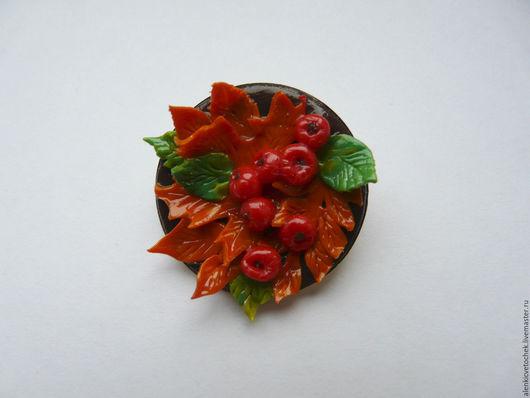 Броши ручной работы. Ярмарка Мастеров - ручная работа. Купить Осень. Handmade. Комбинированный, Рябина, брошка, брошь, украшение
