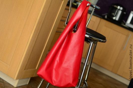 Женские сумки ручной работы. Ярмарка Мастеров - ручная работа. Купить Сумка-майка, кожаная. Handmade. Ярко-красный, мешок