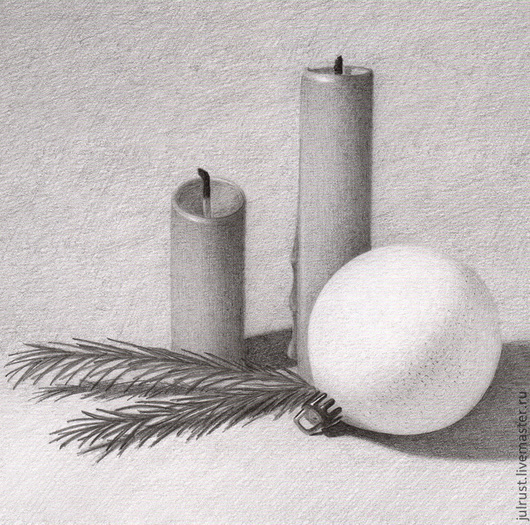 Новый год 2017 ручной работы. Ярмарка Мастеров - ручная работа. Купить Картина Новогодний Натюрморт, рисунок карандашом серый белый графика. Handmade.
