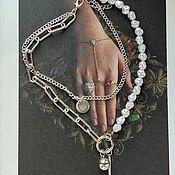 Украшения handmade. Livemaster - original item Silver chain necklace with pendant and pearls. Handmade.