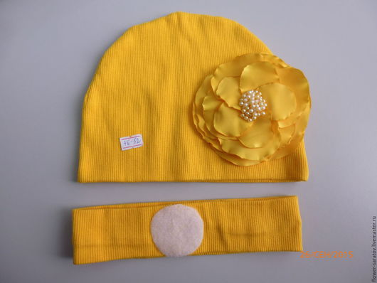 Шапки и шарфы ручной работы. Ярмарка Мастеров - ручная работа. Купить Набор шапочка + цветок (съемный) + повязка. Handmade.