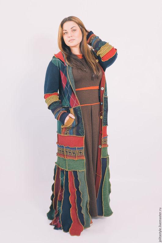 Верхняя одежда ручной работы. Ярмарка Мастеров - ручная работа. Купить Шерстяной свитер- пальто. Handmade. Комбинированный, длинный свитер