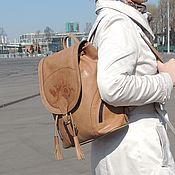 Сумки и аксессуары handmade. Livemaster - original item Backpack leather female beige Demi Mod R50-652. Handmade.