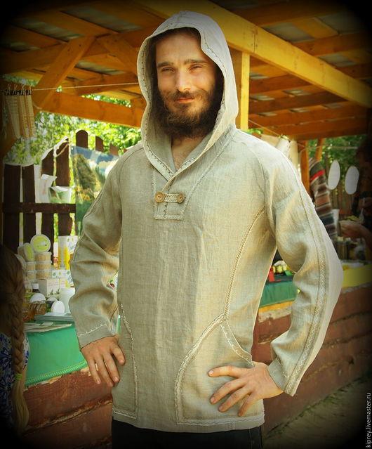 """Для мужчин, ручной работы. Ярмарка Мастеров - ручная работа. Купить Рубаха льняная с капюшоном """"История рыцаря"""". Handmade. Бежевый"""