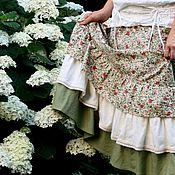 """Одежда ручной работы. Ярмарка Мастеров - ручная работа Хлопковая юбка с розами """"Куст розовых роз"""". Handmade."""