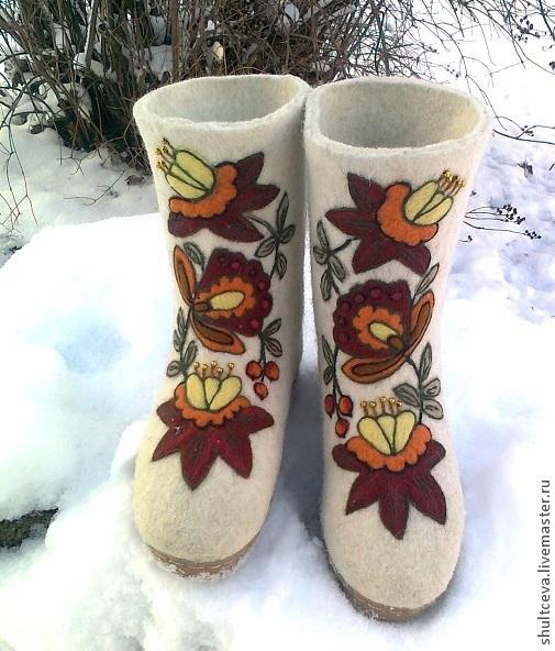 """Обувь ручной работы. Ярмарка Мастеров - ручная работа. Купить валенки """"Боярские"""". Handmade. Белый, валенки на подошве, валенки расписные"""