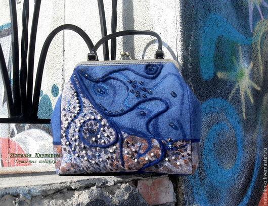 Женские сумки ручной работы. Ярмарка Мастеров - ручная работа. Купить Сумка валяная. Благородный джинс. Handmade. Сумка валяная