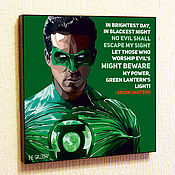 Картины и панно handmade. Livemaster - original item Picture Poster Pop Art Green Lantern Comics. Handmade.