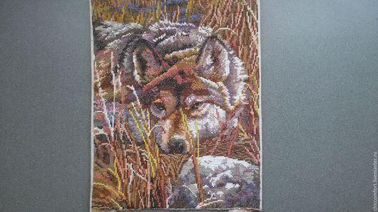 Животные ручной работы. Ярмарка Мастеров - ручная работа. Купить волк в степи. Handmade. Коричневый, картина, картина на заказ