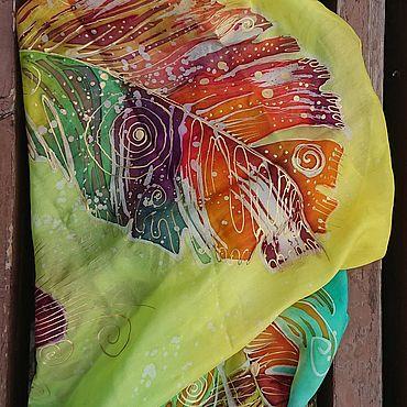 Аксессуары ручной работы. Ярмарка Мастеров - ручная работа Перышки. Шёлковый платок.. Handmade.