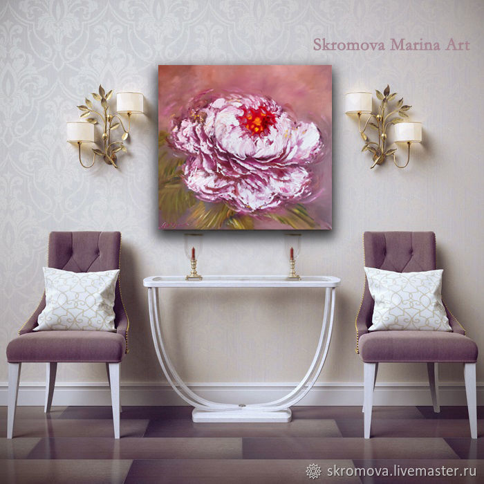 Oil painting with abstract peony. Abstract oil peony, Pictures, Moscow,  Фото №1