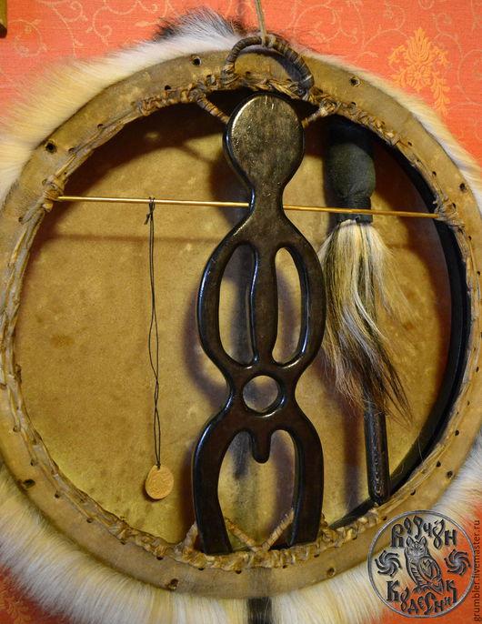 Ударные инструменты ручной работы. Ярмарка Мастеров - ручная работа. Купить Шаманский бубен с настраиваемым ободом. Handmade. Бежевый, этно