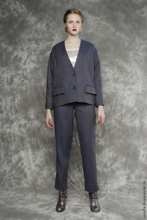 ae8643488cf Костюм женский деловой брючный льняной серый синий в елочку – купить ...