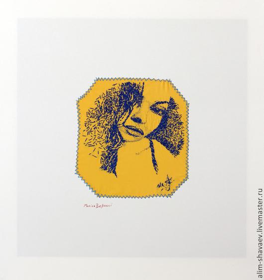 Люди, ручной работы. Ярмарка Мастеров - ручная работа. Купить Monica Bellucci.. Handmade. Картина, мулине, хлопок 100%