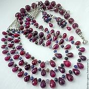 Украшения handmade. Livemaster - original item NECKLACE 3niti EARRINGS - RUBIES - brealey, SAPPHIRES beads.. Handmade.