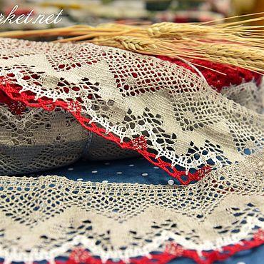 Материалы для творчества ручной работы. Ярмарка Мастеров - ручная работа 1.189L кружево льняное серо-белое+красное. Handmade.