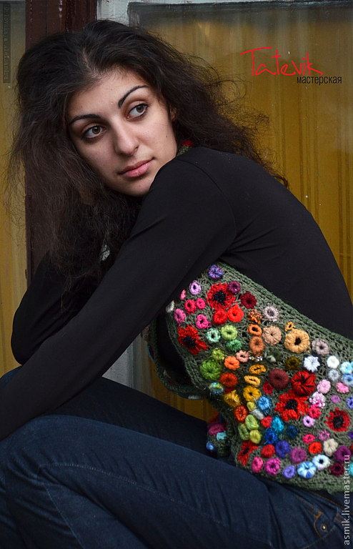 Knitted vest 'Poppy Field' based on the paintings To. Monet, Vests handmade, Moscow, Фото №1
