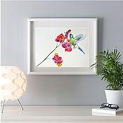Картины и панно handmade. Livemaster - original item Orchid bird - painting watercolor. Handmade.