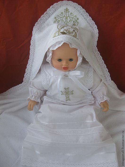 """Крестильные принадлежности ручной работы. Ярмарка Мастеров - ручная работа. Купить Крестильный набор """"Полина"""". Handmade. Белый, крестильная рубашка"""