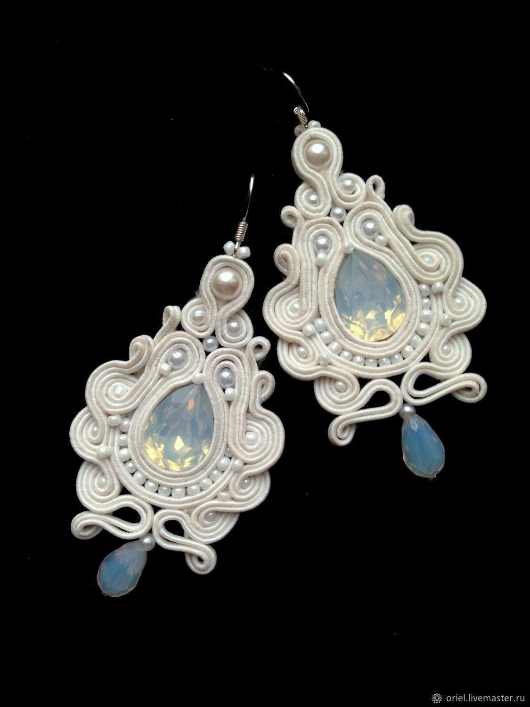 3e582a580 Oriel · Earrings handmade. Earrings Bridal long White magic embroidered of  pearls and soutache.