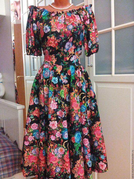 Платья ручной работы. Ярмарка Мастеров - ручная работа. Купить Штапельное платье миди Вечерняя роза. Handmade. Черный