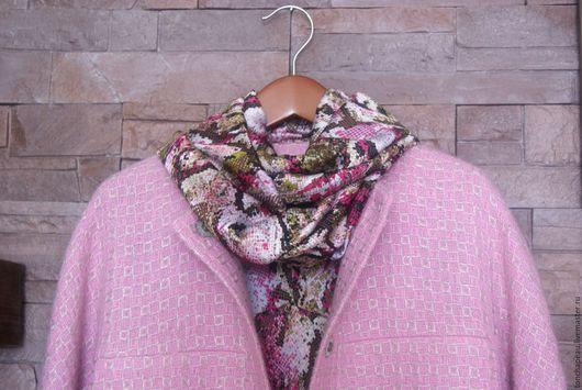 """Верхняя одежда ручной работы. Ярмарка Мастеров - ручная работа. Купить Пальто-кокон """"Розовая дымка"""" в комплекте со снудом. Handmade."""