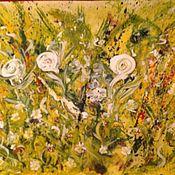 Картины и панно handmade. Livemaster - original item Flowers in my garden. Mixed media.. Handmade.