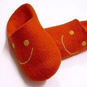 """Обувь ручной работы. Ярмарка Мастеров - ручная работа Тапочки валяные """"Оранжевое настроение"""". Handmade."""