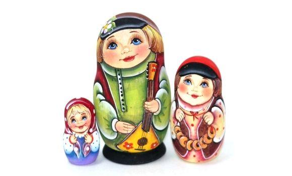 Матрешка Денис с балалайкой (зеленая) 3м11см, Матрешки, Шатура,  Фото №1
