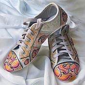 """Обувь ручной работы. Ярмарка Мастеров - ручная работа Кеды с ручной росписью """"Розовый закат"""" (Роспись кед, Кеды  с рисунком). Handmade."""