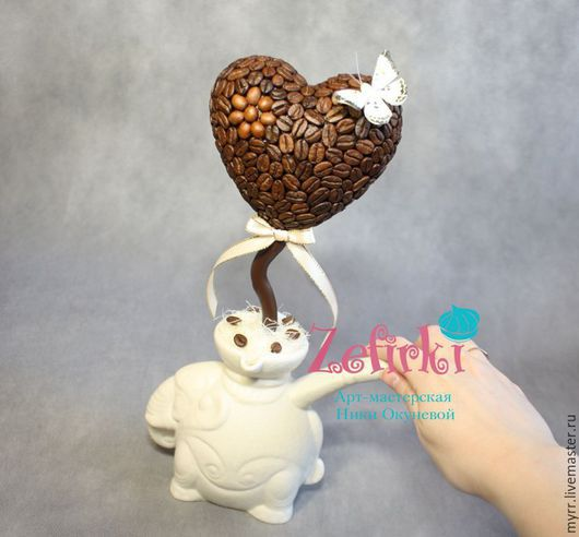 Топиарии ручной работы. Ярмарка Мастеров - ручная работа. Купить Кофейное дерево кофейное сердце кофейный шар кофе в кружке. Handmade.