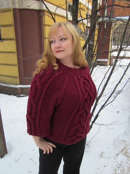"""Кофты и свитера ручной работы. Ярмарка Мастеров - ручная работа. Купить Пуловер """"Вишня на снегу"""". Handmade. Бордовый, вязаный пуловер"""