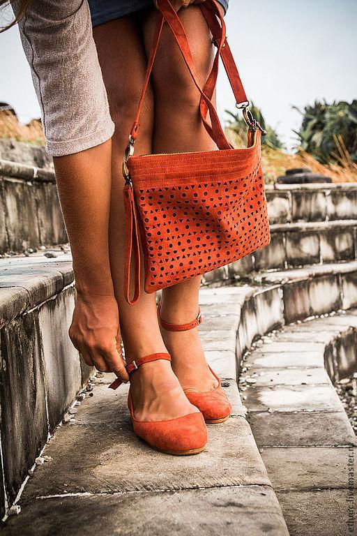Обувь ручной работы. Ярмарка Мастеров - ручная работа. Купить Балетки из натуральной замши. Handmade. Рыжий, дизайнерская обувь