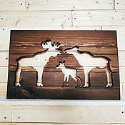 Картины и панно handmade. Livemaster - original item Family of moose wood panels. Handmade.