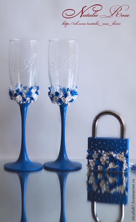 Свадебные аксессуары ручной работы. Ярмарка Мастеров - ручная работа. Купить Бокалы в синем цвете. Handmade. Синий, пластика, пластика