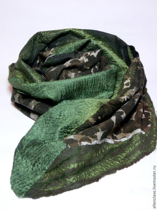 Шарфы и шарфики ручной работы. Ярмарка Мастеров - ручная работа. Купить шарф валяный Настроение хаки. Handmade. Разноцветный