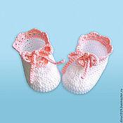 Работы для детей, handmade. Livemaster - original item knitted booties for girls summer boots knitted, white, peach. Handmade.