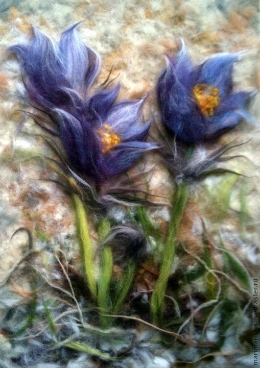 """Картины цветов ручной работы. Ярмарка Мастеров - ручная работа. Купить Картина из шерсти """"Весна идет..."""". Handmade. Цветы"""