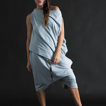 Одежда ручной работы. Ярмарка Мастеров - ручная работа Спортивный костюм из серого хлопка, кофта с шортами- SE0782W2. Handmade.