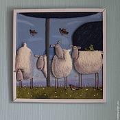 Картины и панно ручной работы. Ярмарка Мастеров - ручная работа Посчитай барашков перед сном. Handmade.
