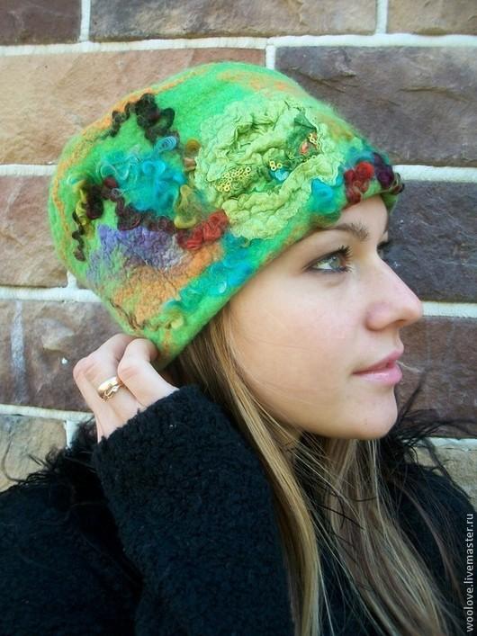 """Шапки ручной работы. Ярмарка Мастеров - ручная работа. Купить шляпка валяная """"Хозяйка медной горы"""". Handmade. Ярко-зелёный"""