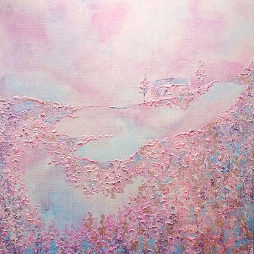 Картины и панно ручной работы. Ярмарка Мастеров - ручная работа Интерьерная перламутровая розовая картина Сладкий туман. Handmade.