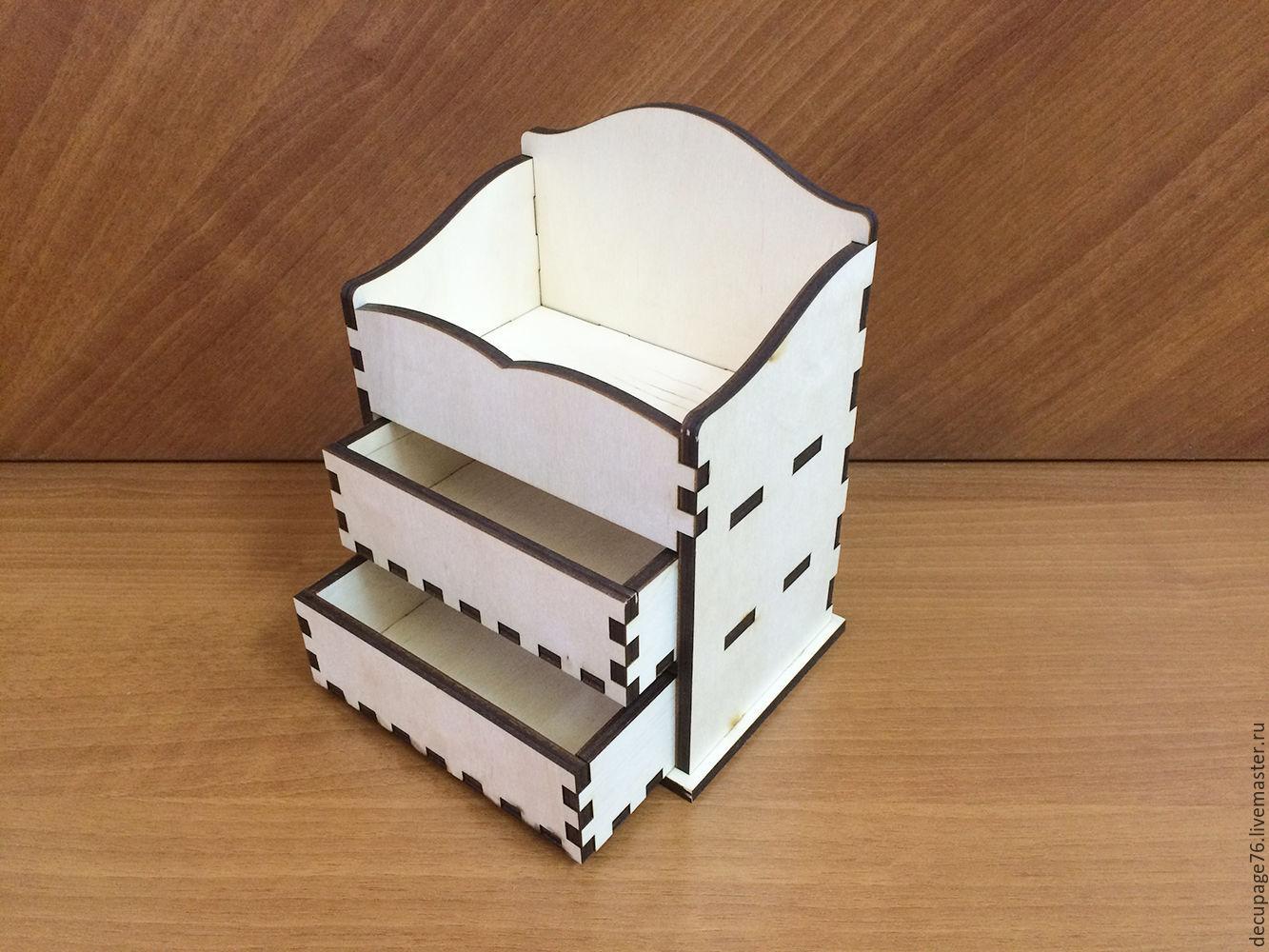 Комод на 2 ящика (продается в разобранном виде) Не комплектуется фурнитурой, Габарит комода: 10х15х20 см