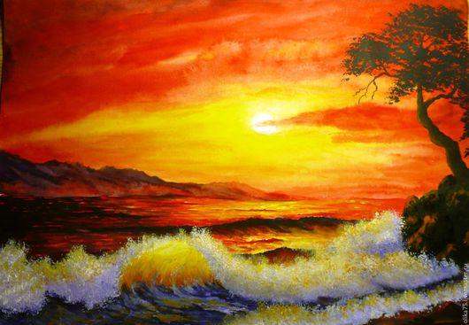 Пейзаж ручной работы. Ярмарка Мастеров - ручная работа. Купить Вечер, море.. Handmade. Комбинированный, пейзаж акварелью, закат на море