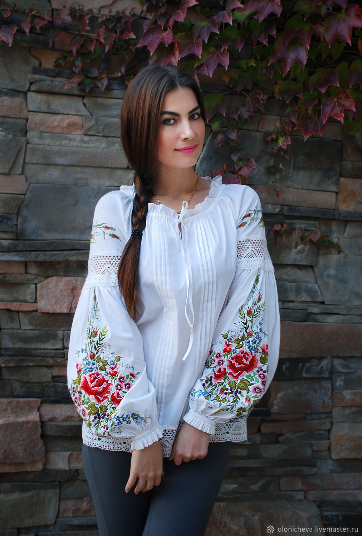 """Вышитая блуза """"Цветочная новелла-2"""" блуза с вышивкой, вышиванка, Blouses, Vinnitsa,  Фото №1"""