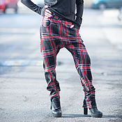 Брюки ручной работы. Ярмарка Мастеров - ручная работа Женские брюки в клетку с карманами - PA0725PM. Handmade.