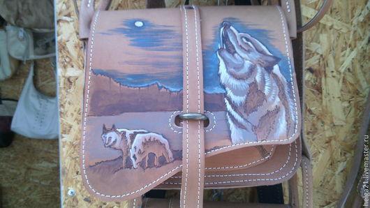 Женские сумки ручной работы. Ярмарка Мастеров - ручная работа. Купить Кожаная сумка с волком (сумка из кожи). Handmade. Коричневый
